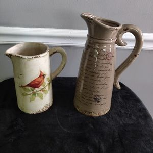 Bundle Lot of 2 Decorative Water Pitchers